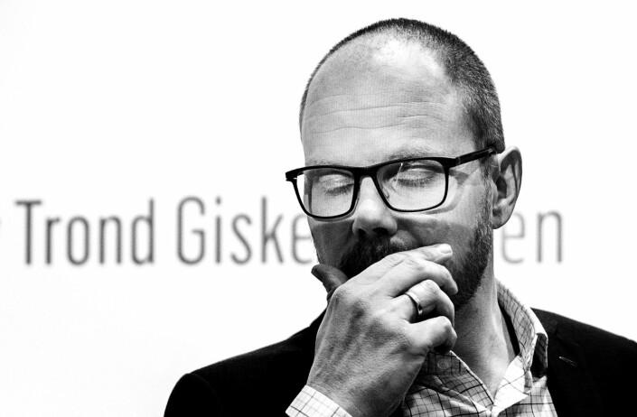 VGs sjefredaktør Gard Steiro fotografert under VGs pressekonferanse om egen skandale.
