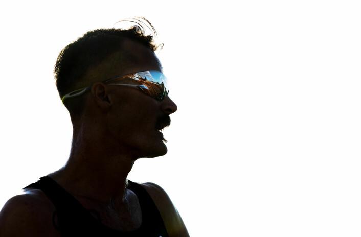 Henrik Ingebrigtsen fotografert rett etter målgang på 5000 meter i friidretts-NM i Hamar. Han vant klart. Foto: Berit Roald / NTB scanpix