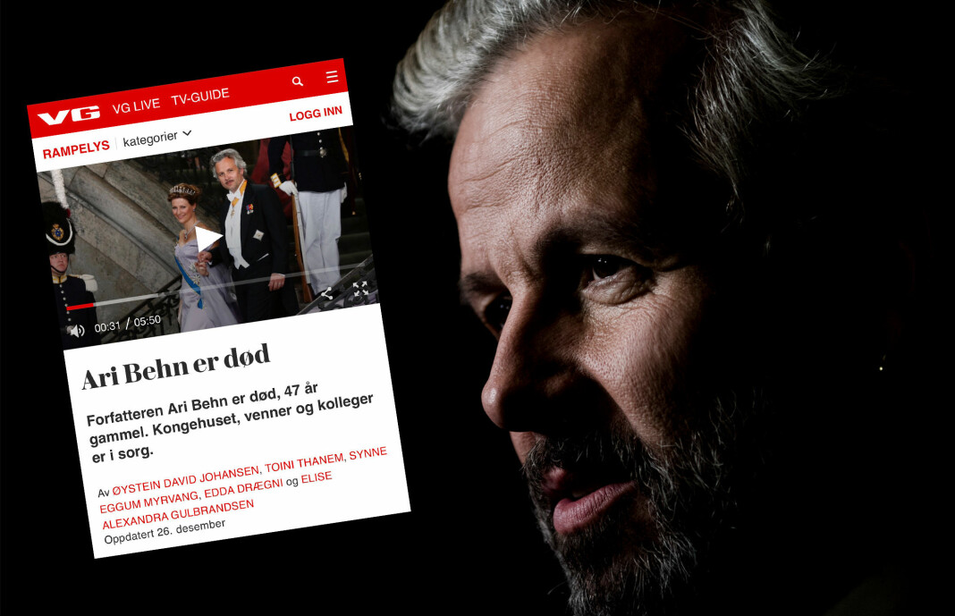 Med klar margin er nyheten om Ari Behns bortgang 1. juledag tidenes best leste sak i VG, skriver avisen selv.