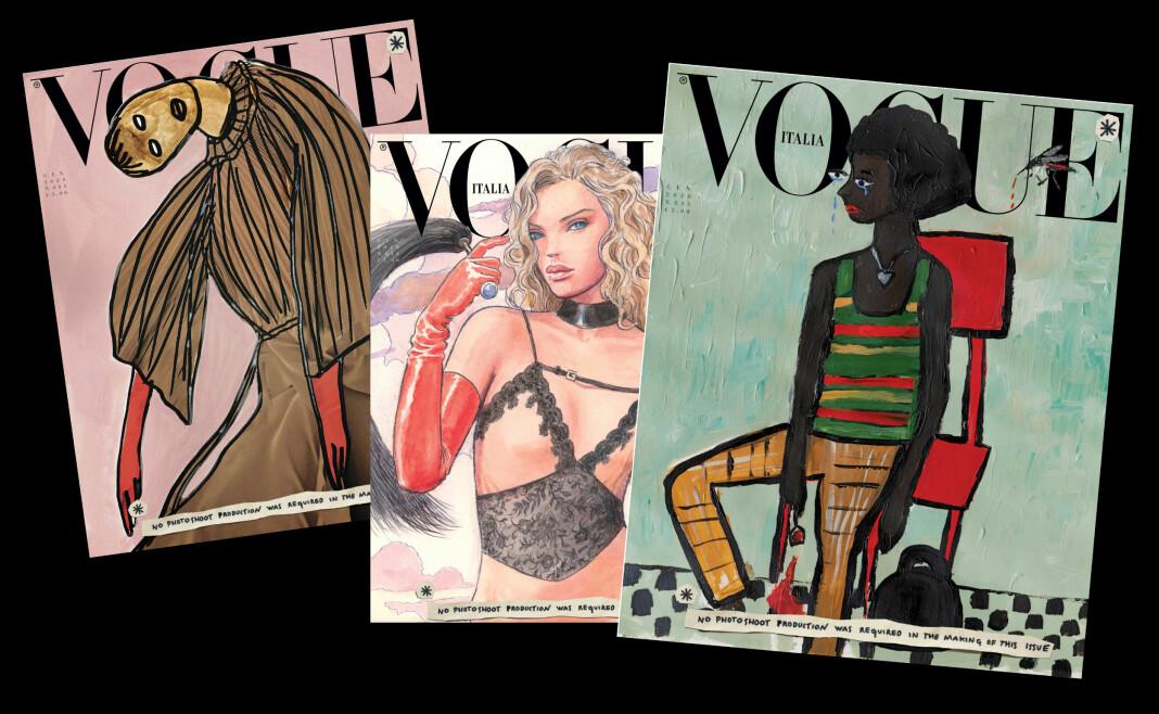 Slik ser tre av de sju ulike magasinforsidene av italienske Vogue ut i januar 2020, som kommer tirsdag.