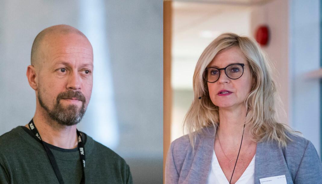 NRK topper 2019-lista, mens TV 2 ikke ble felt i fjor. Her ved NRKs etikkredaktør Per Arne Kalbakk og TV 2s nyhetsredaktør Karianne Solbrække.