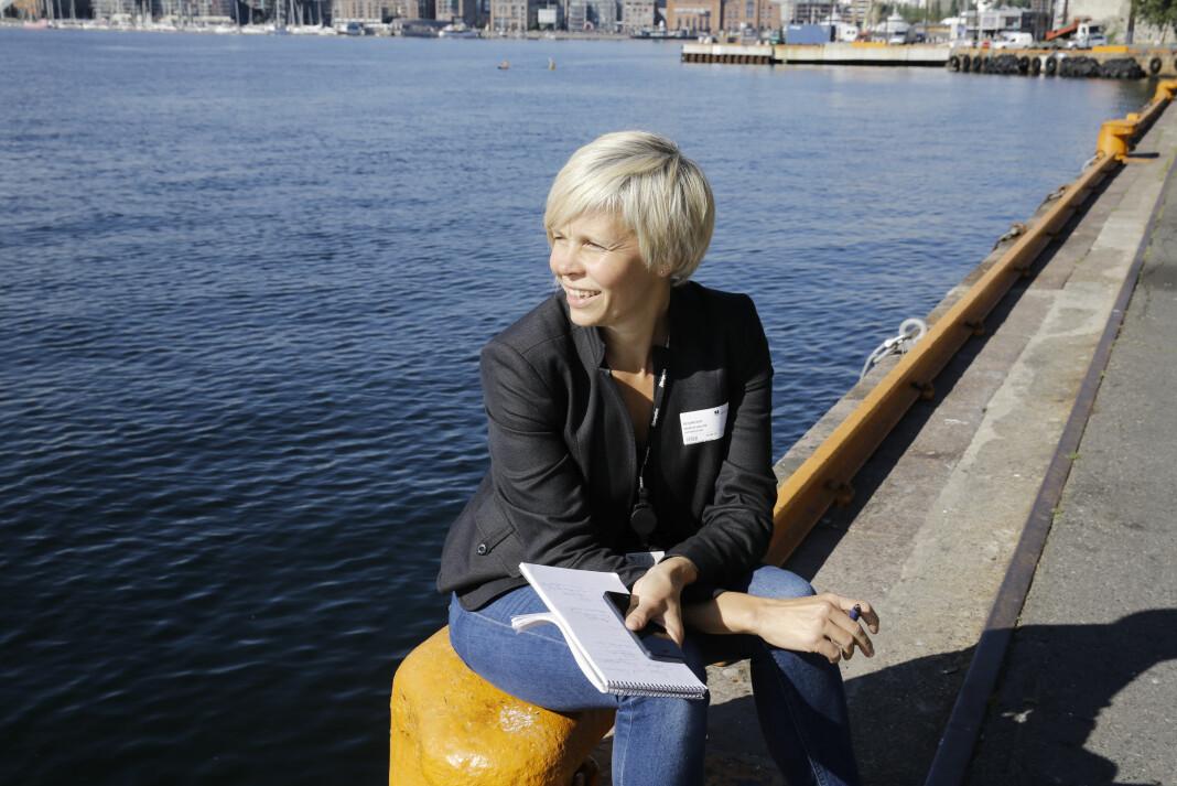 Økonomijournalist Marita Elena Valvik i Aftenposten, sitter for tida som konserntillitsvalgt i Schibsted. Her før et intervju med daværende havnedirektør i Oslo.