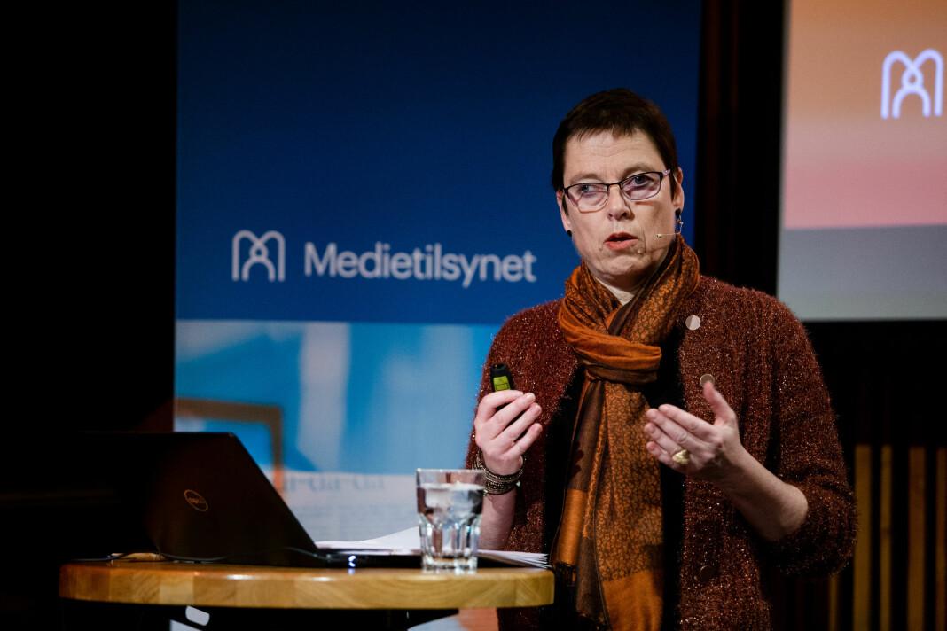 Mari Velsand, direktør i Medietilsynet, under pressekonferansen i november 2019, hvor hun presenterte pressestøtteavslaget.