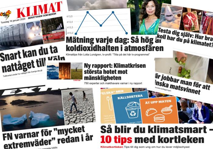 Kollasj av forsidehenvisninger til klimasaker hos Expressen