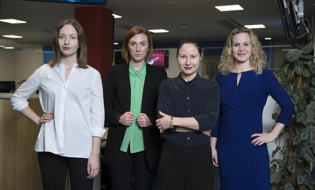 Expressens klimaredaksjon (f.v): Filippa Rogvall, Matilda Nyberg, Emma Boëthius og Karin Sörbring