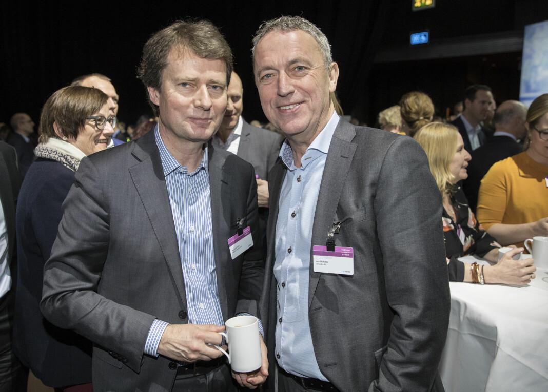 75 prosent av redaktørene i Amedia og Polaris Media, er menn. Fra venstre Polaris-sjef Per Axel Koch og konsernsjef Are Stokstad i Amedia.