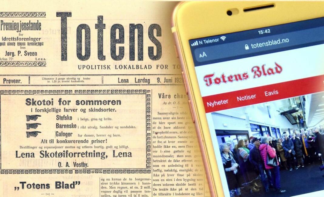 Totens Blads første utgave kom 1928. På 1980- og 90-tallet slet avisen økonomisk, før den gjenoppsto som gratisavis i 1998.