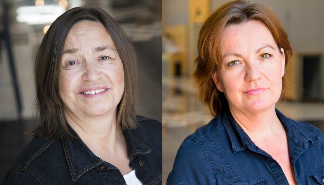 Heidi Pleym (t.v.) blir regionredaktør når NRK slår sammen Sør og Øst til Sørøst. Jannicke Engan går over til rolle som utviklingsredaktør.