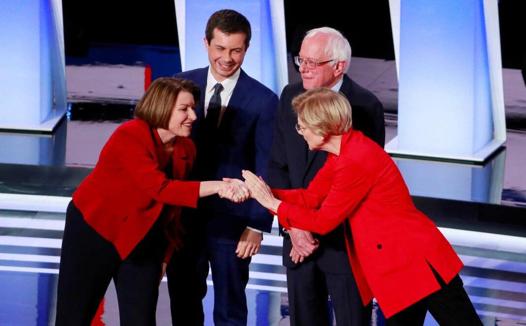Alle vil de bli Demokratenes presidentkandidat: Fra venstre Amy Klobuchar, Pete Buttigieg, Bernie Sanders og Elizabeth Warren.