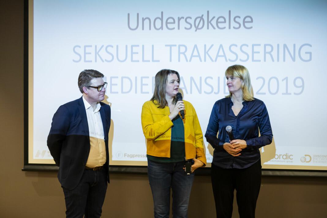 P4-direktør Kenneth Andresen, NJ-leder Hege Iren Frantzen og Randi Øgrey i MBL, var enige i at det fortsatt er mye å gjøre for å hindre seksuell trakassering i mediebransjen.