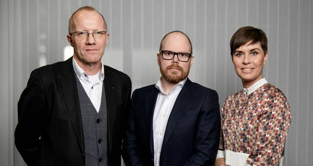 Generalsekretær Arne Jensen, sjefredaktør Gard Steiro og advokat Ina Lindahl Nyrud i henholdsvis Norsk Redaktørforening, VG og Norsk Journalistlag.
