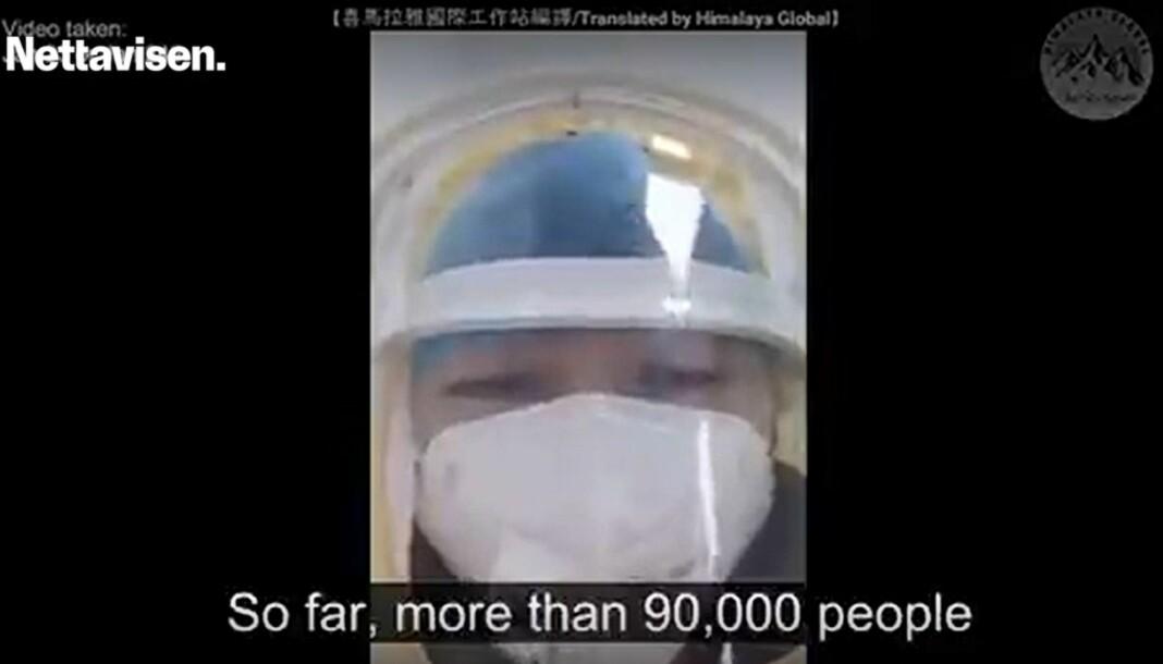 En video med ukjent opphav hevder at mer enn 90.000 kinesere er smittet av koronavirus. Nettavisen har publisert.