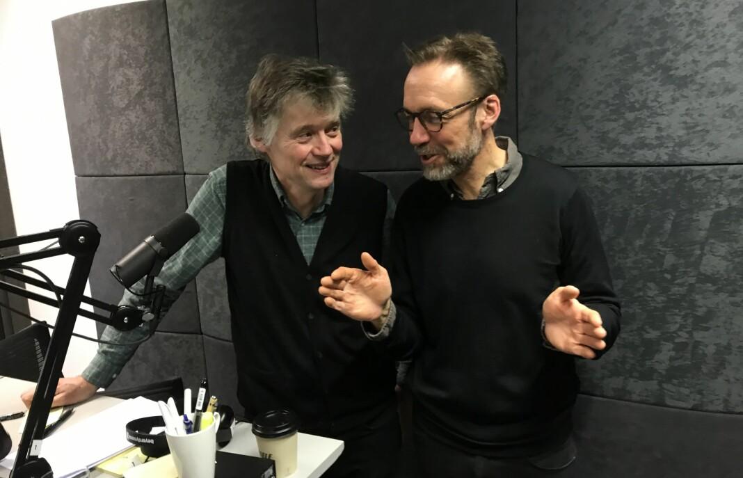 Anders Giæver (til venstre) og Thomas Giertsen fotografert i forbindelse med innspillingen av dagens episode.