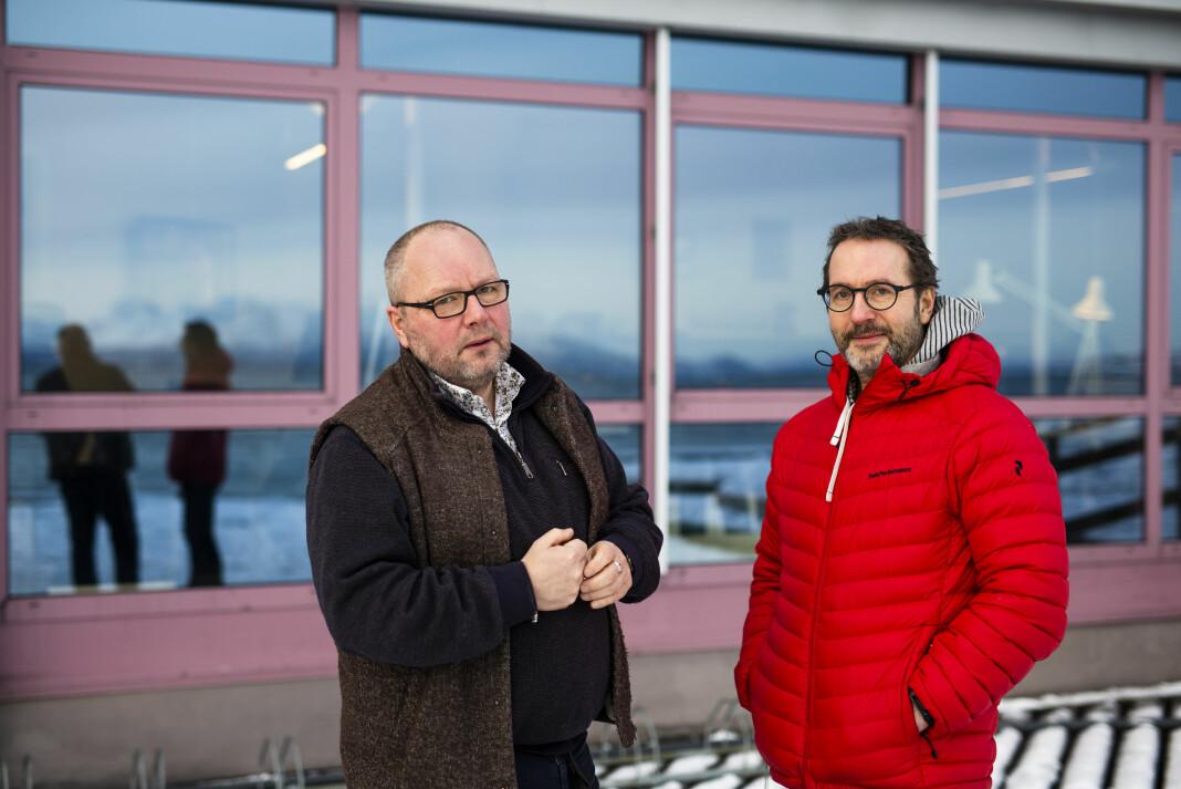 Nils Mehren (t.v) og Martin Mortensen har jobba sammen på NRK-kontoret i Harstad siden Mortensen kom dit fra NRK Finnmark i 2006. Sammen med to andre journalister dekker de Nord-Norges tettest befolkede område.