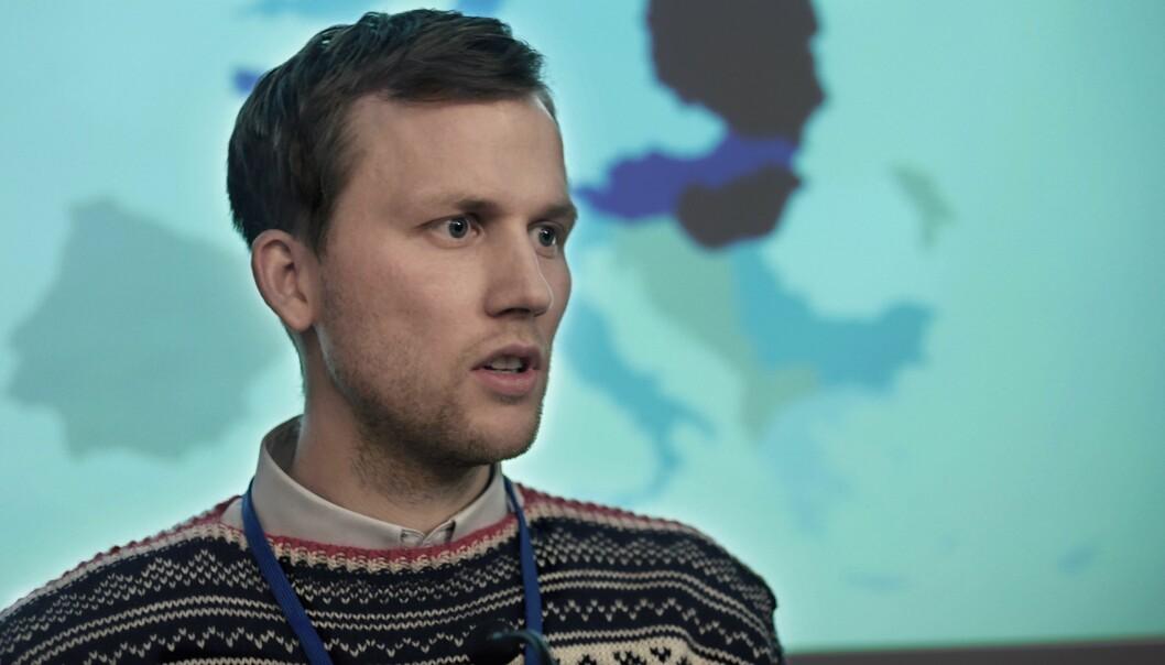 Fredrik Høyer i rollen som bloggeren «Breidablikk» i NRK-serien «22. juli»