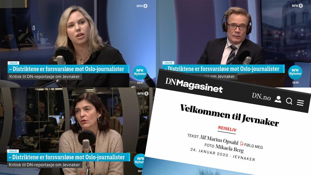 Trioen som møttes i Dagsnytt 18: DN-redaktør Live Fedog Thorsen, programleder Espen Aas og Kjersti Løken Stavrum.
