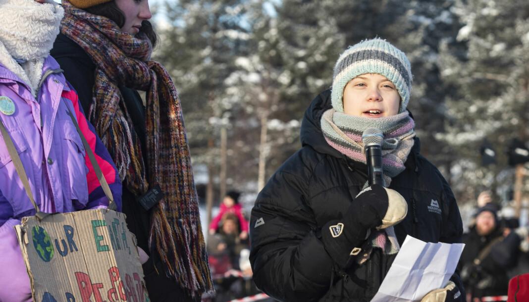Klimaaktivist Greta Thunberg under en demonstrasjon sammen med samiske barn i Jokkmokk i Sverige i forrige uke.