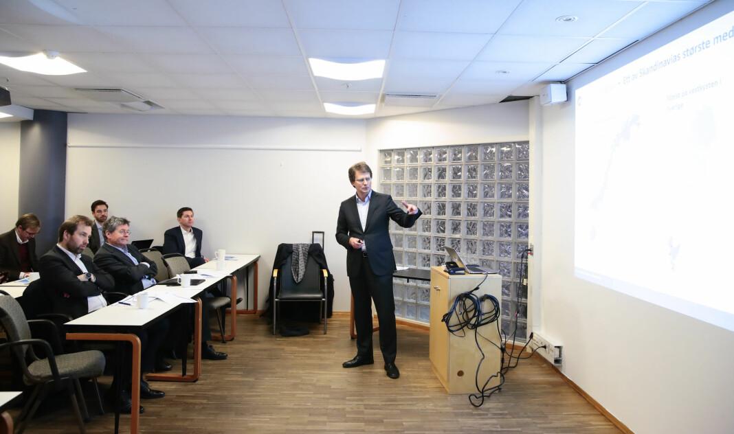 Polaris Medias konsernsjef Per Axel Koch under kvartalspresentasjonen fredag.