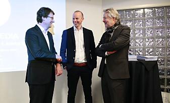 Per Axel Koch, konstituert finansdirektør Håkon Brækken og styreleder Torry Pedersen.