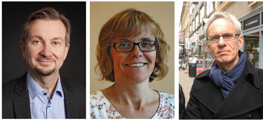 Trygve Aas Olsen ved Institutt for journalistikk (t.v), professor Lisbeth Morlandstø fra Nord universitet og professor Paul Bjerke fra Høgskulen i Volda.