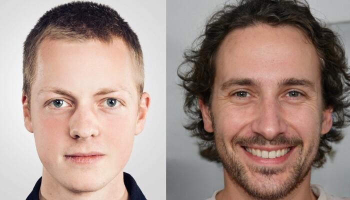 Ett av disse ansiktene tilhører NRK Betas Ståle Grut. Det andre er datagenerert.