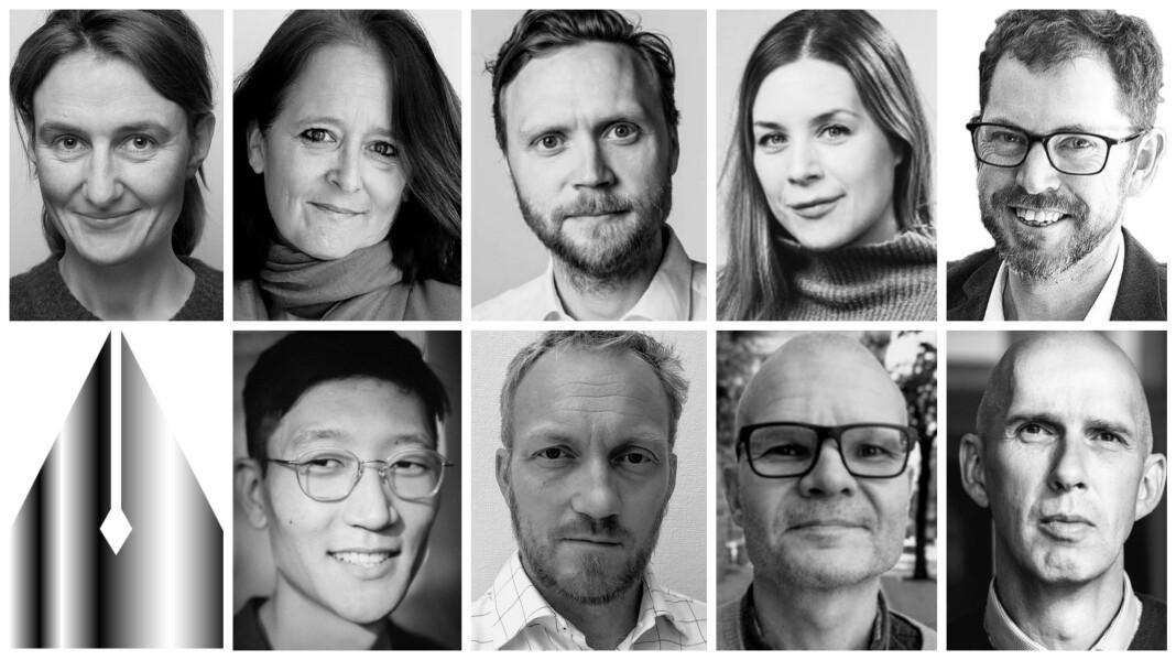 De nominerte: Øverst fra venstre Marit K. Slotnæs, Eva Grinde, Geir Ramnefjell, Camilla Bjørn, Bjørn K. Bore. Nederst fra venstre Danby Choi, Kjetil Kolsrud, Rolf Sønstelie og Frank Gander.