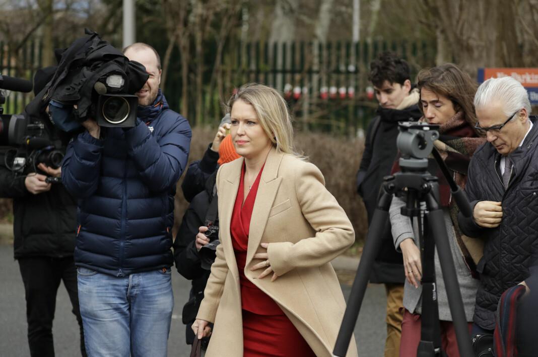 En av Julian Assanges advokater, Jennifer Robinson, da hun mandag ankom retten i nærheten av Belmarsh-fengselet der Assange er innsatt.