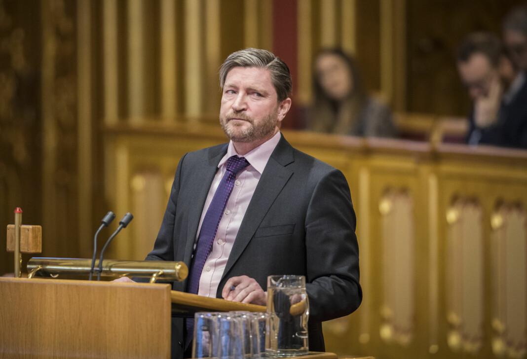 Christian Tybring-Gjedde varslet boikott av tre DN-journalister fra Stortingets talerstol tirsdag. Bildet er fra en spørretime i januar.