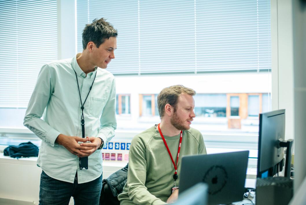 Utviklingsredaktør Øyvind Brenne sammen med VG-kollega Mathias Jørgensen.