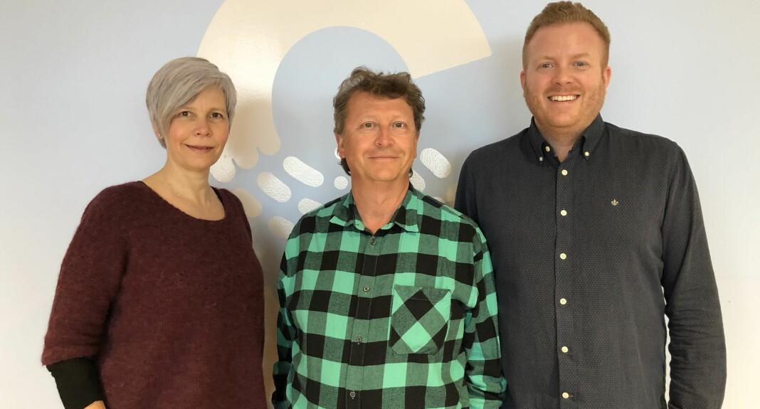 Konserntillitsvalgte i Schibsted Marita Valvik, Per Edström og Rune Berg.