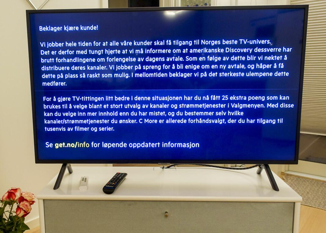 Tirsdag mistet over én million nordmenn Discoverys kanaler etter at forhandlingene med Get-eier Telia ble brutt. Torsdag er forhandlingene tatt opp igjen.
