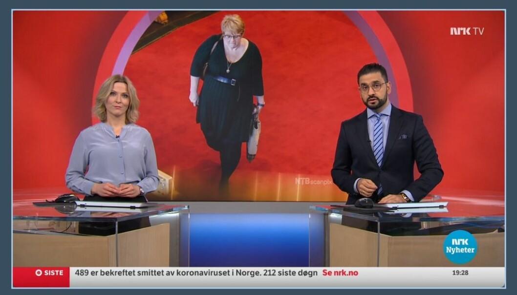 Dagsrevyen-ankerne Eline Buvarp Aardal og Yama Wolasmal hadde nok å melde om onsdag, i en sending som ble den mest sette på lenge.