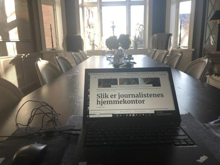 Aftenposten-journalist Hilde Harbo har sendt oss dette bildet fra sitt hjemmekontor. Heldigvis har hun også funnet seg noe interessant å lese.