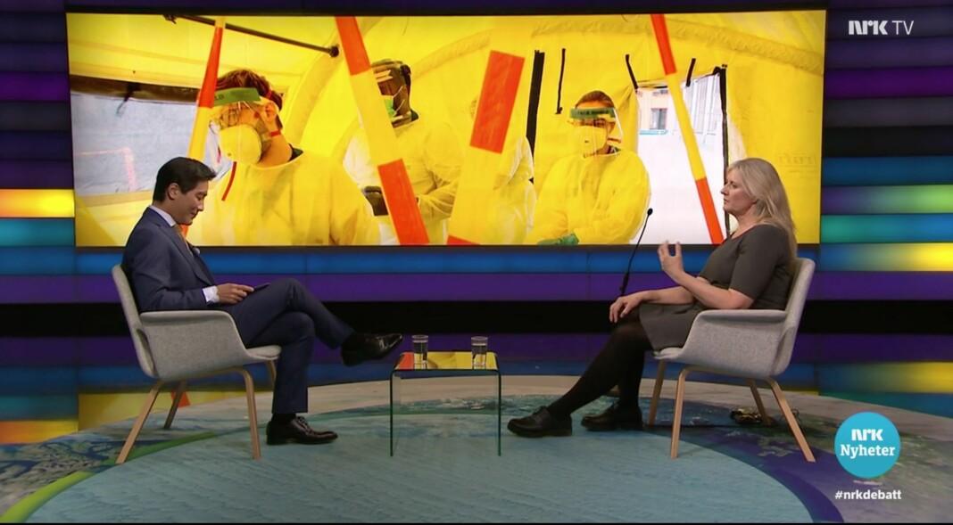 Programleder Fredrik Solvang sammen med lege og forsker Gunhild Alvik Nyborg under det omstridte Debatten-innslaget.