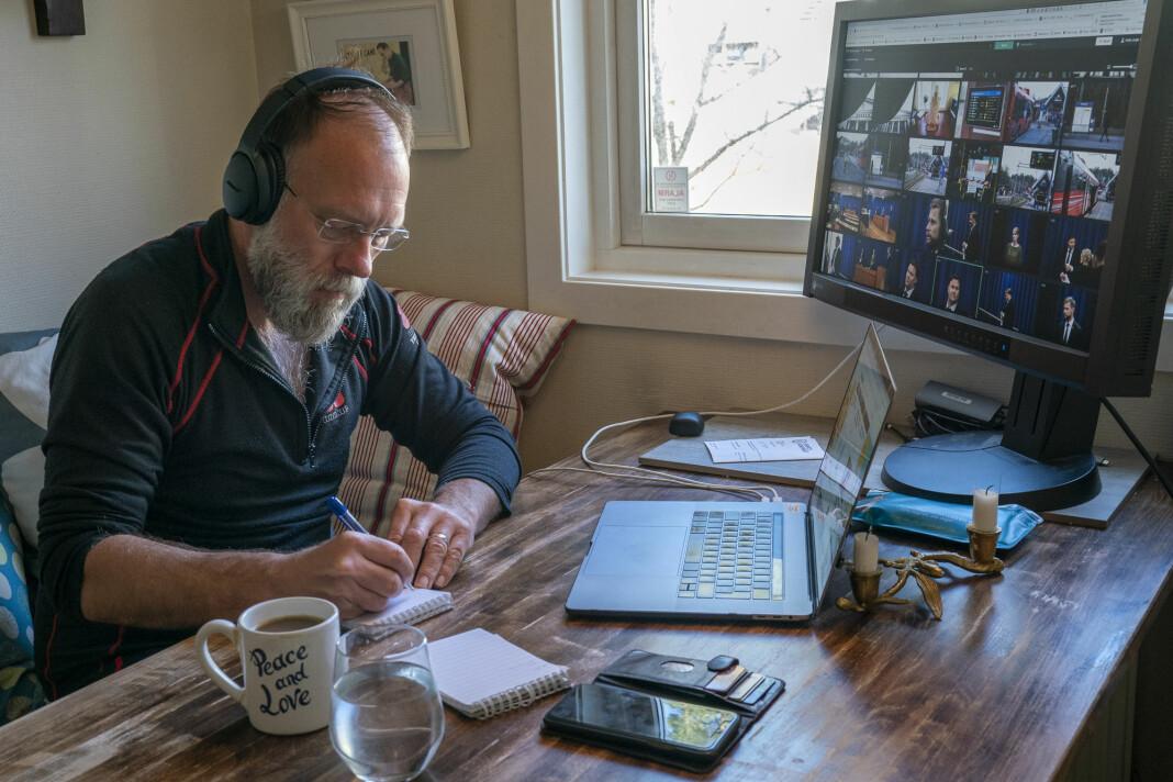NORGE: NTB-fotograf Heiko Junge er satt i hjemmekarantene på grunn av utenlandsreise og jobber som bilderedaktør fra sitt hjemmekontor i Oslo.