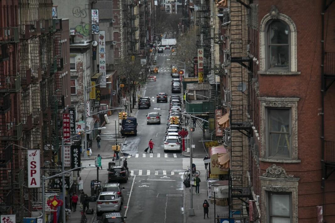 New York er nå episenteret for utbruddet av koronavirus i USA. Dette bildet er fra Chinatown.