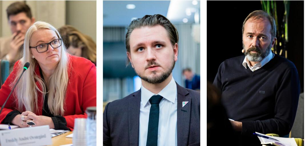 Mediepolitiske talspersoner Åshild Sem-Jacobsen (Sp), Freddy Øvsterås (SV) og Trond Giske (Ap).