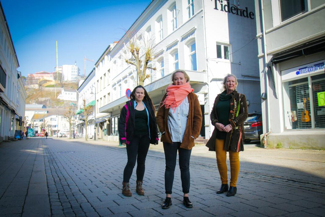 Permitterte Arendals Tidende-medarbeidere: Fra venstre Helene Walle, Grete Helgebø og Linda Dyrholm.