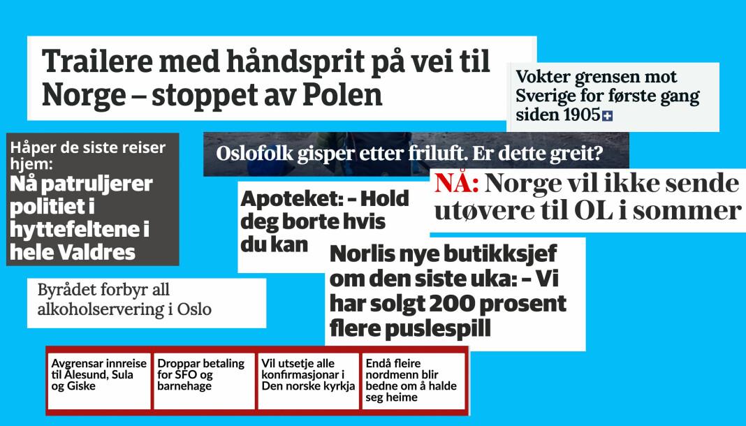 Disse overskriftene hadde nok få norske journalister trodd de skulle skrive før koronakrisa.