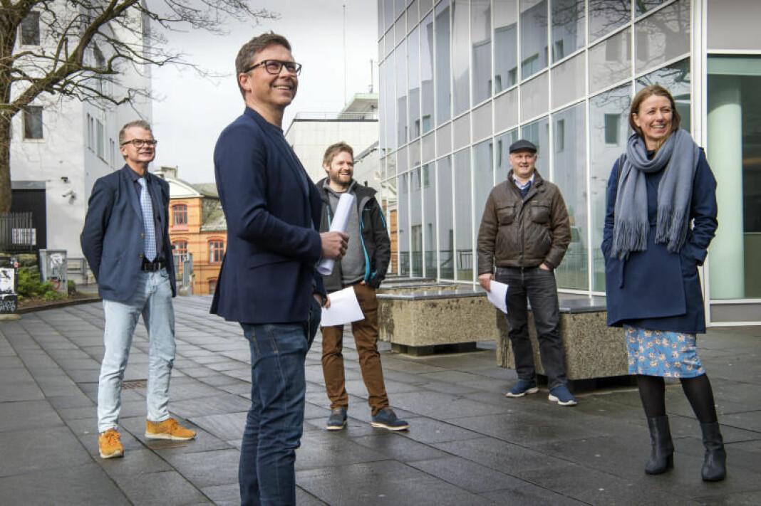 F.v: Lars Helle i Stavanger Aftenblad, Ragnar Christensen i NRK Rogaland, Tommy Aase i Screen Story, Harald Halvorsen i Mediability og Annenita Bakker Schøyen i Mediafarm.