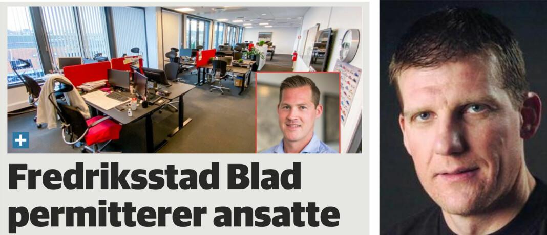 Oppslag på f-b.no i dag. Til høyre sjefredaktør Jon Jacobsen.