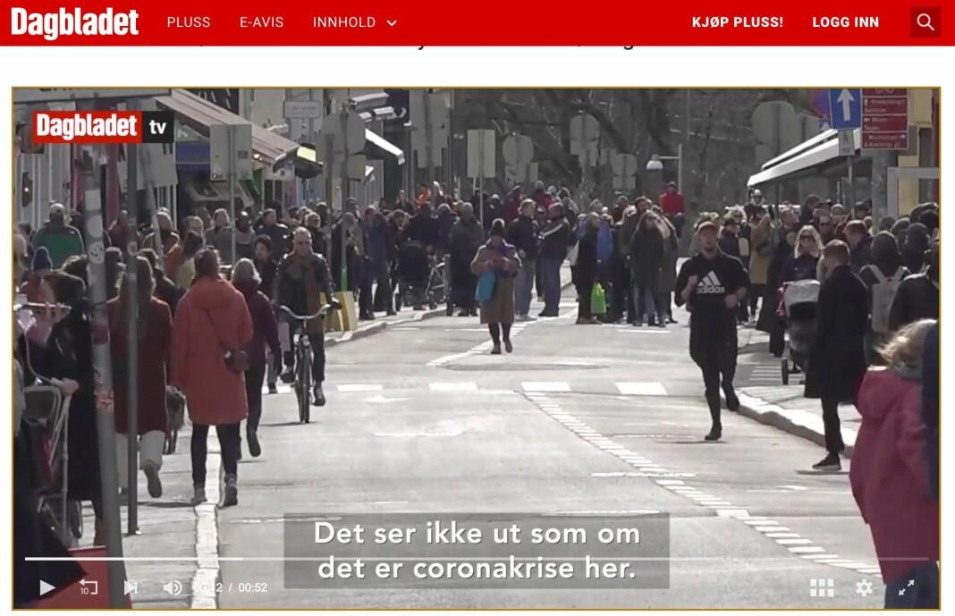 Skjermdump fra Dagbladets video fra Grünerløkka i Oslo. Se lenke til artikkel og video nederst i saken.