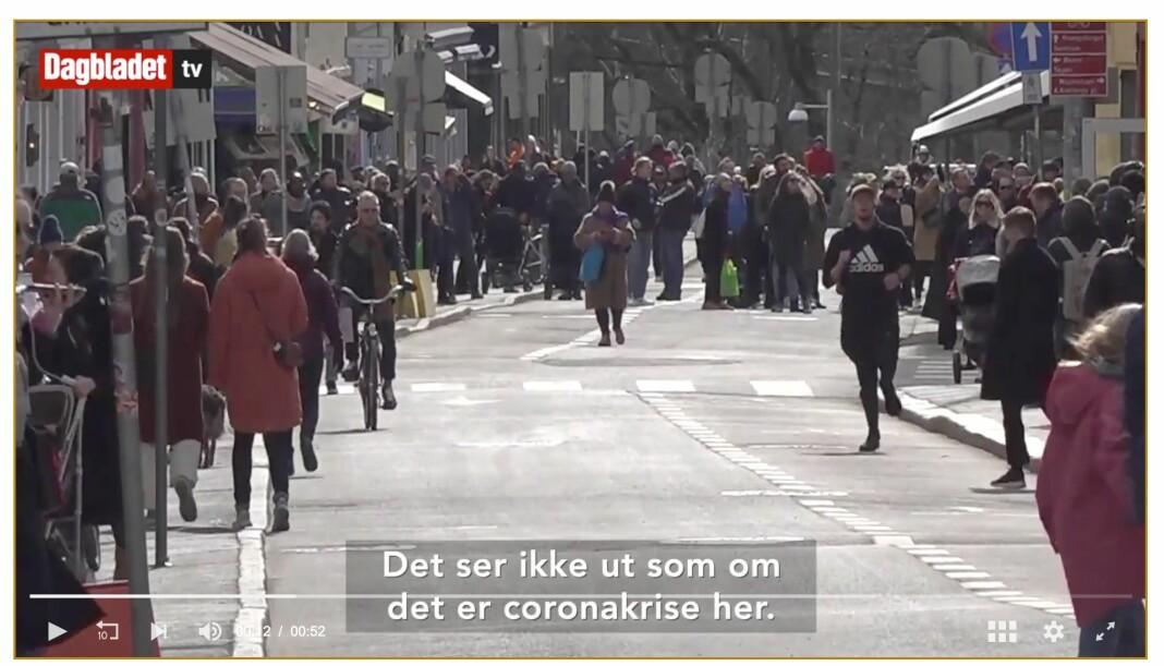 Gir dette bildet, hentet fra en Dagbladet-video, et feil inntrykk av hvor mange mennesker som var ute i gatene på Grünerløkka i april?