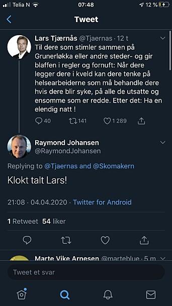 Byrådsleder i Oslo, Raymond Johansen, var en av mange som kommenterte saken lørdag kveld.