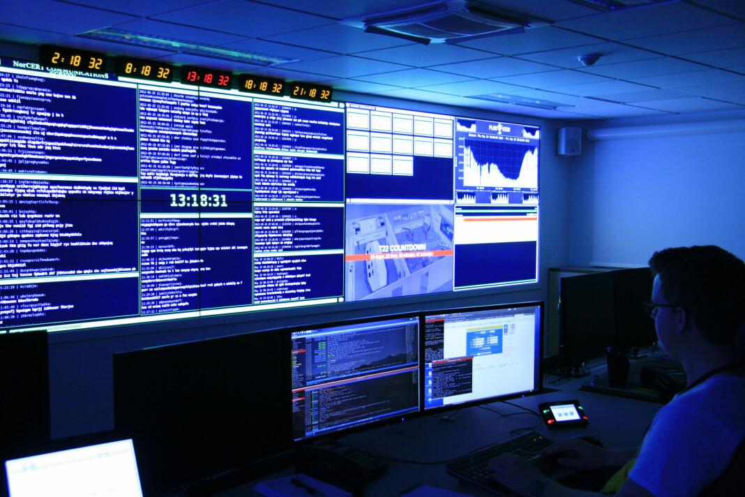 Illustrasjonsbilde fra operasjonsrom i Nasjonal Sikkerhetsmyndighets (NSM) lokaler.