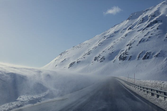 Snøfokk over Kvænangsfjellet.