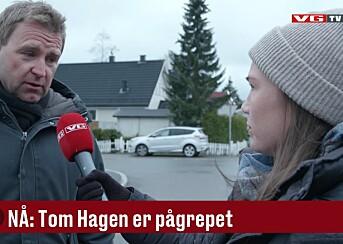 Krimkommentator Øystein Milli intervjues av videjournalist Natalie Remøe Hansen der Tom Hagen ble pågrepet tirsdag.