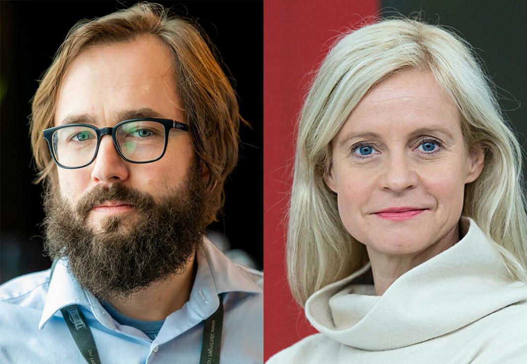Nyhetsredaktør Karianne Solbrække sier hun er imponert over journalistikk til Filter Nyheter. Her ved ansvarlig redaktør Harald S. Klungtveit.