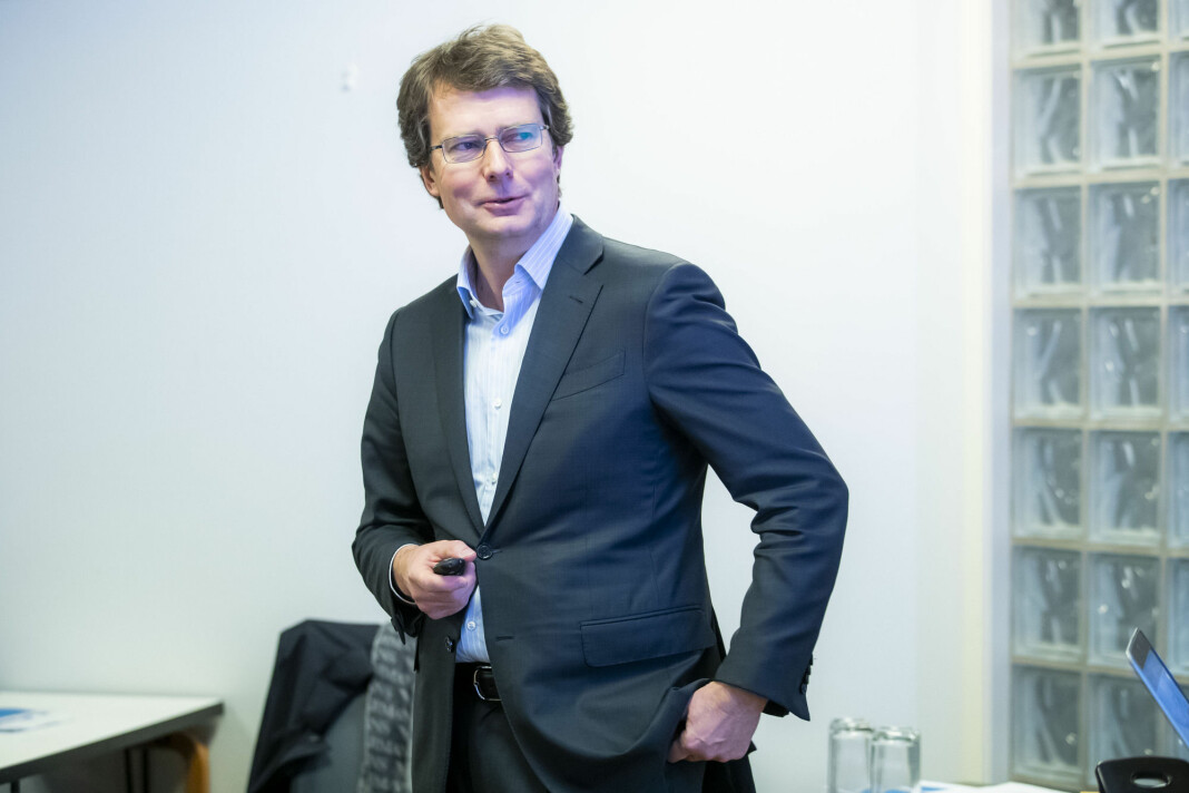 Polaris Medias konsernsjef Per Axel Koch under presentasjonen av fjerdekvartalstallene i fjor.
