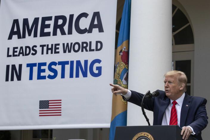 President Donald Trump sin pressebrifing var rigget til å handle om hvordan USA er best i verden på å teste flest mulig for koronasmitte.